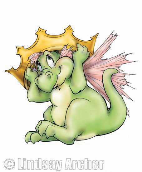 Drat the Fairy Dragon wearing an oversized crown