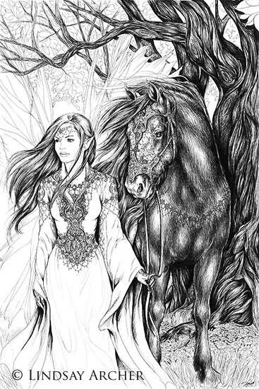 Forest Walk - Fairy and Horse Art - Artist Lindsay Archer